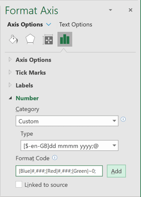 Format Axis in Excel 365