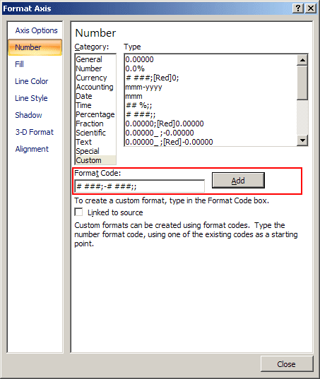 Format Axis Excel 2007