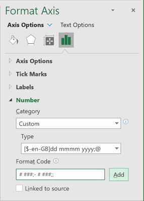 Format Axis Excel 365