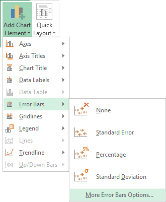 More Error Bars Options in Excel 2013
