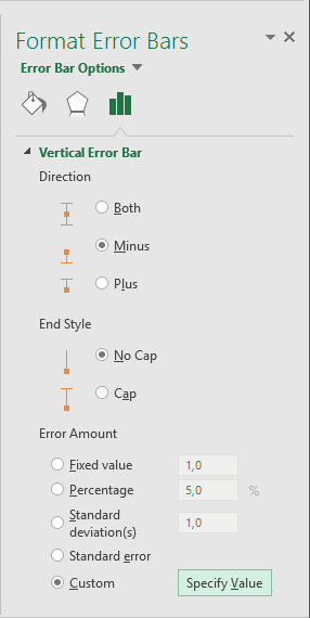 Format Error Bars in Excel 2016