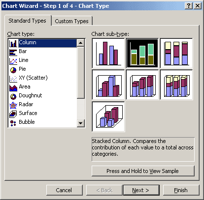 Chart Wizard Step 1