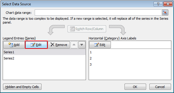 Select Data Source in Excel 2010