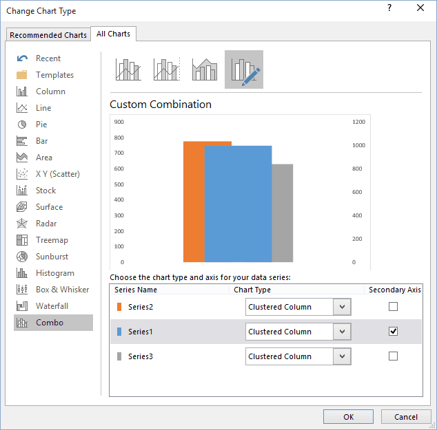 Change Chart Type popup in Excel 2016