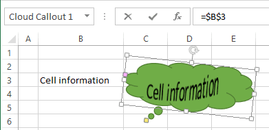 Shape with cell information Excel 2013