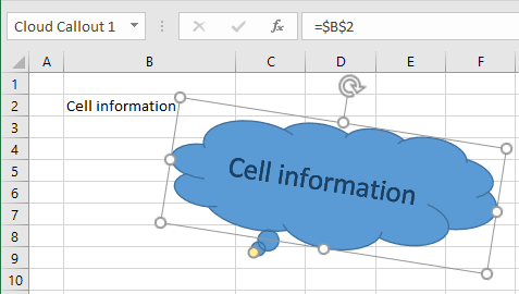 Shape with cell information Excel 2016