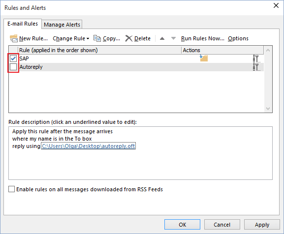 Turn off rules in Outlook 2016