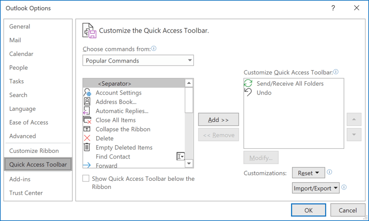 Quick Access Toolbar menu in Outlook 365 Options