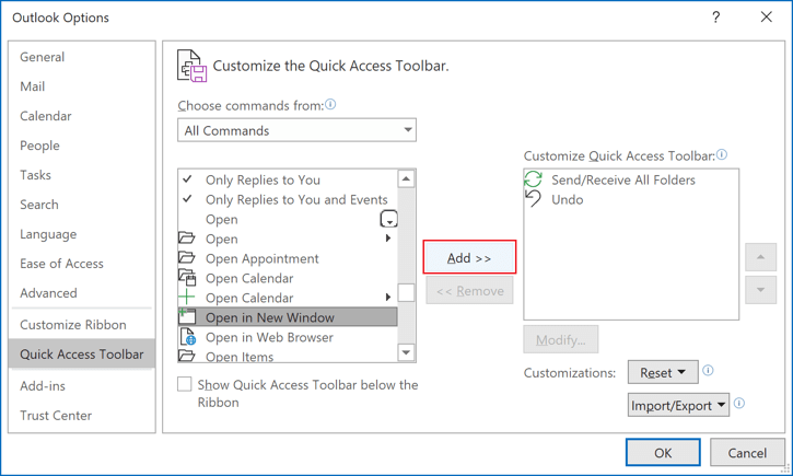Add command to Quick Access Toolbar in Outlook 365
