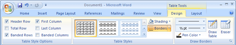 Table Tools in Word 2007