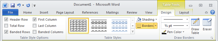 Table Tools in Word 2010