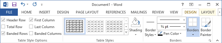 Table Tools in Word 2013
