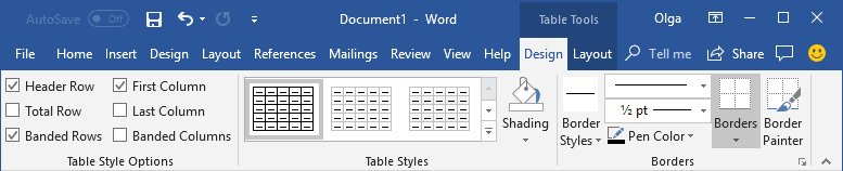 Table Tools in Word 2016