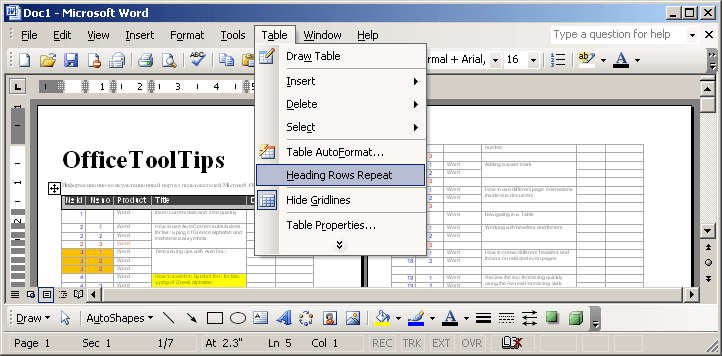 Table Headings in Word 2003