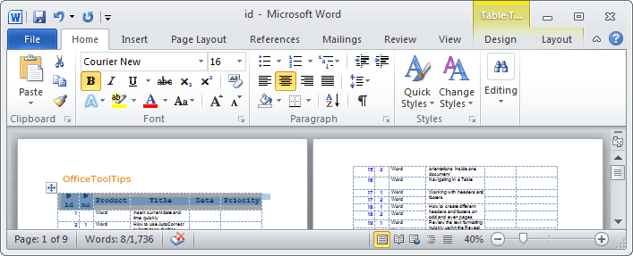 Table headings in Word 2010