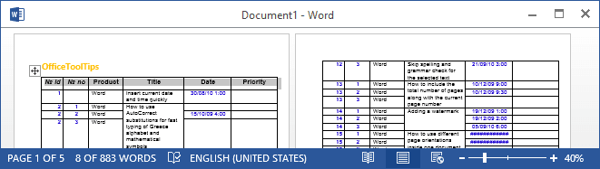 Table headings in Word 2013