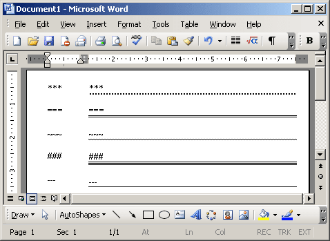 Lines in Word 2003