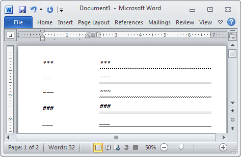 Lines in Word 2010
