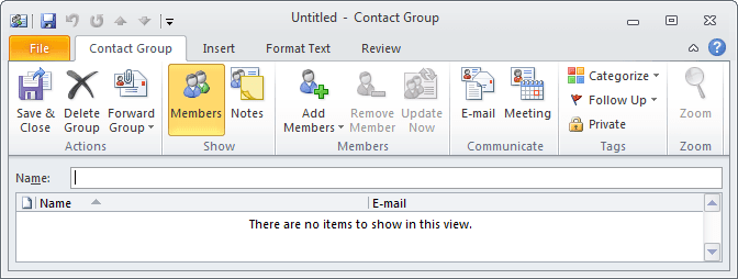 Contact Group in Outlook 2010