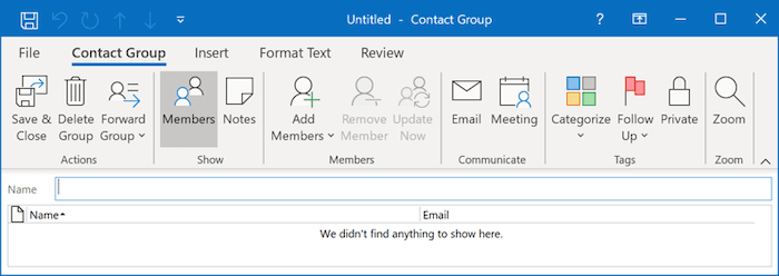 Contact Group in Outlook 365