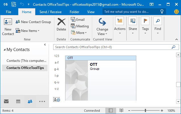 Contacts Outlook 2016