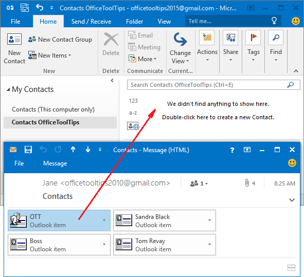 popup in Outlook 2016