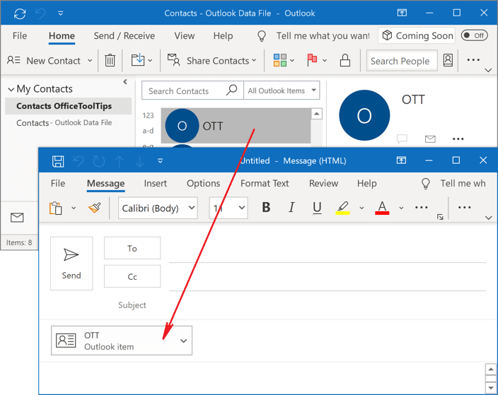 Drag and drop contact group in Outlook 365