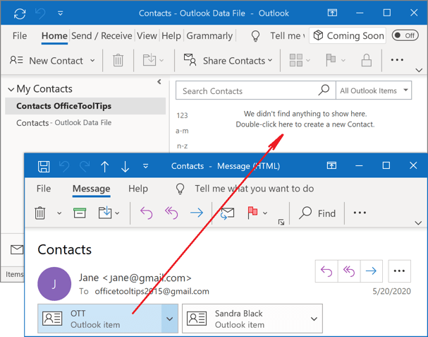 Drag and drop Outlook 365 Contact Group