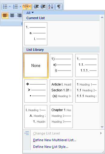 Multilevel lists in Word 2007