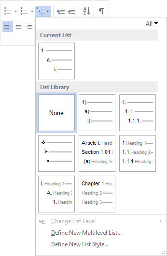 Multilevel lists in Word 2013