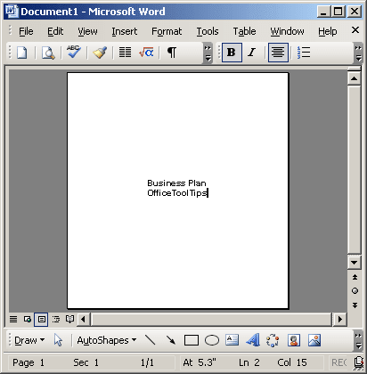 Align text vertically on the page example in Word 2003