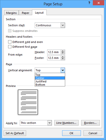 Page Setup in Word 2013