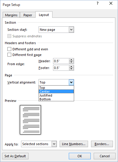 Page Setup in Word 2016