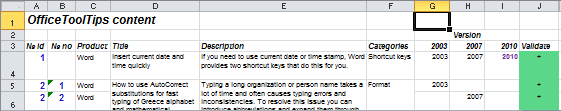 Selected text and cells in Excel 2010