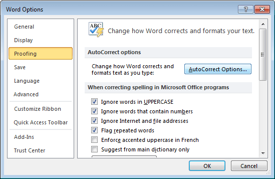 Proofing Word 2010