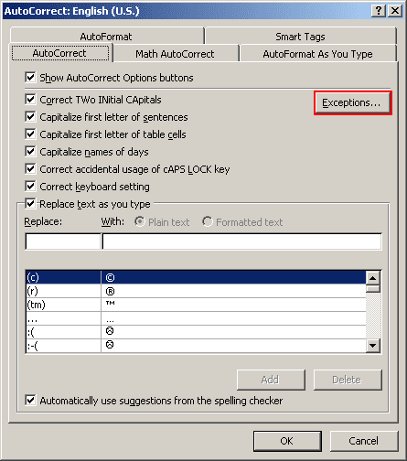 AutoCorrect Exceptions in Office 2007