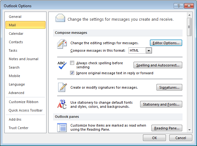 Mail Options Outlook 2010