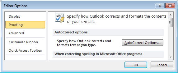 Proofing in Outlook 2010