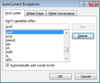 First Letter Exceptions in Office 2010