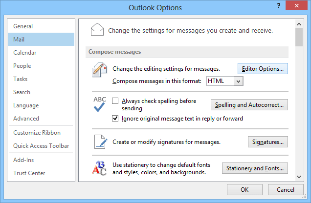 Mail Options Outlook 2013