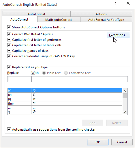 AutoCorrect Exceptions in Office 2016