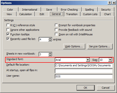 Default font options in Excel 2003