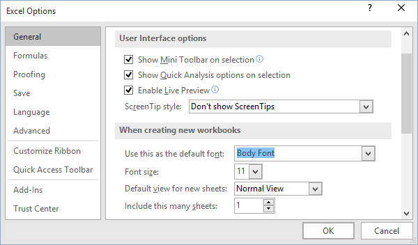 Default font options in Excel 2016