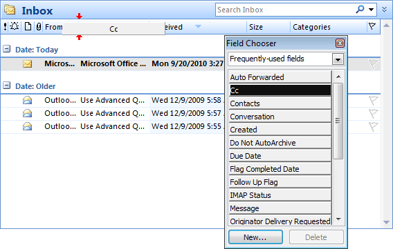 Add columns using Field Chooser in Outlook 2007
