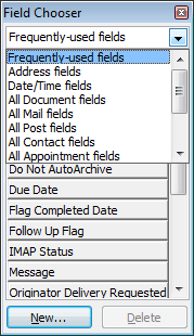 Field Chooser list-box in Outlook 2007