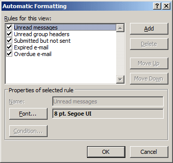 Automatic Formatting in Outlook 2007