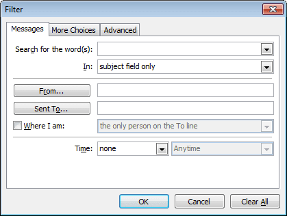 Filter Formatting in Outlook 2010