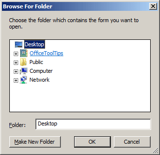 Browse For Folder in Outlook 2007