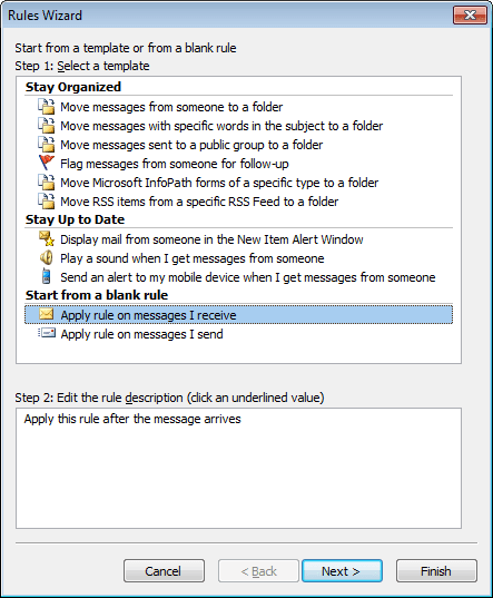 Rules Wizard Step 1 in Outlook 2010