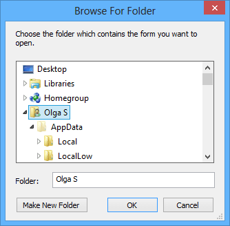 Browse For Folder in Outlook 2013
